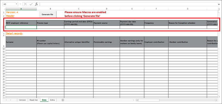 Contribution using NEST templates | NEST Employer Help Centre
