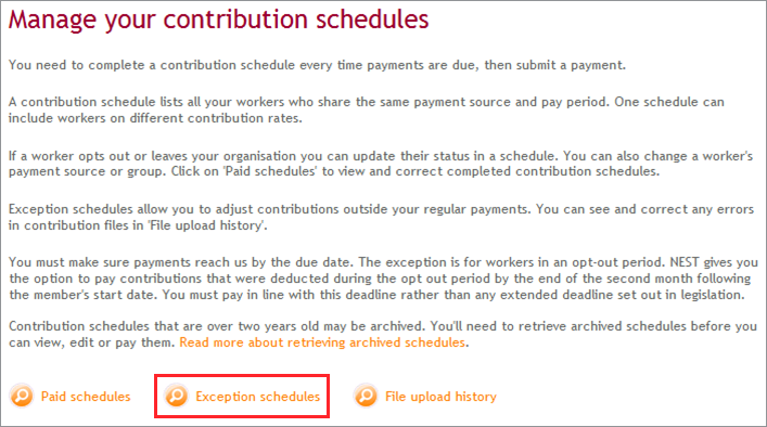 how do i create an exception schedule nest employer help centre