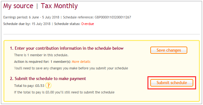 submitting schedule for payment online nest employer help centre