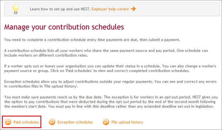 correcting contribution schedule online nest employer help centre