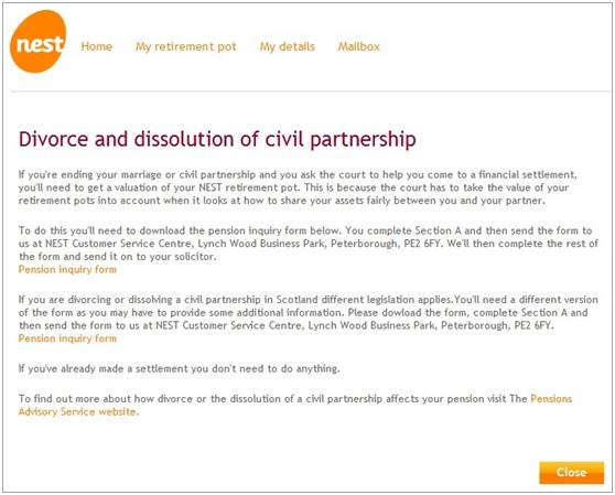 What happens if I get divorced | NEST Member help Centre