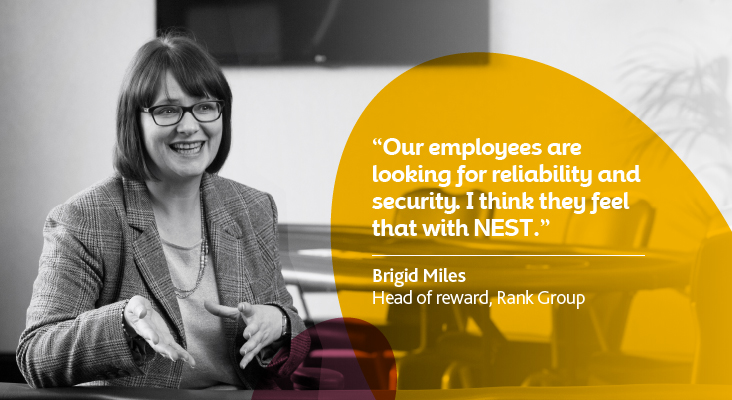 Case study image of Rank Group's Brigid Miles, Head of reward