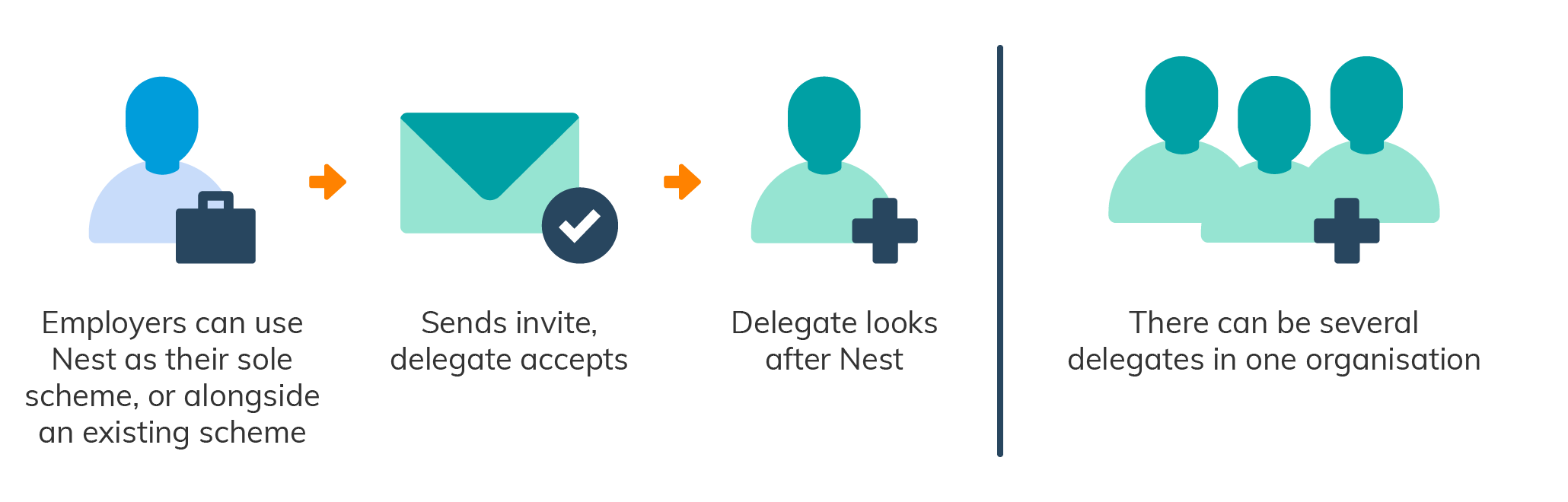 A flowchart showing how employers can assign people in their organisation as individual delegates to look after NEST.