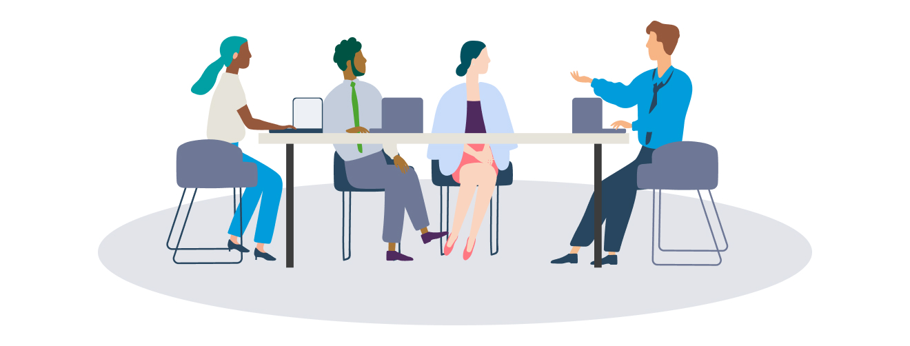 illustration showing four people sitting at a desk