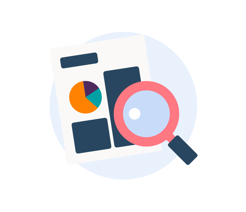 icon showing sheet of paper and a pink magnifying glass on a light blue circle background