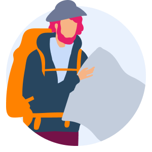 Illustration of a man with backpack, looking at a map