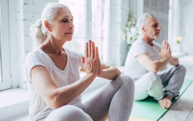 Elderly couple doing a yoga pose