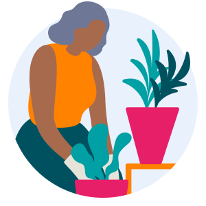 Woman potting a plant