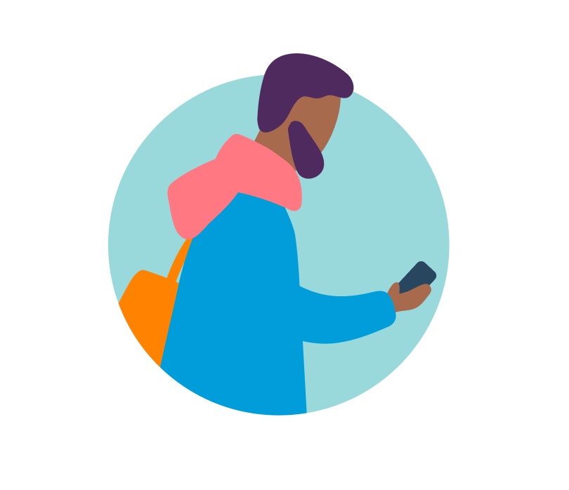 Illustration of a man with a phone in hand