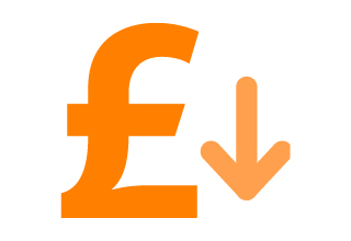 Image of a pound sign alongside an arrow pointing downwards