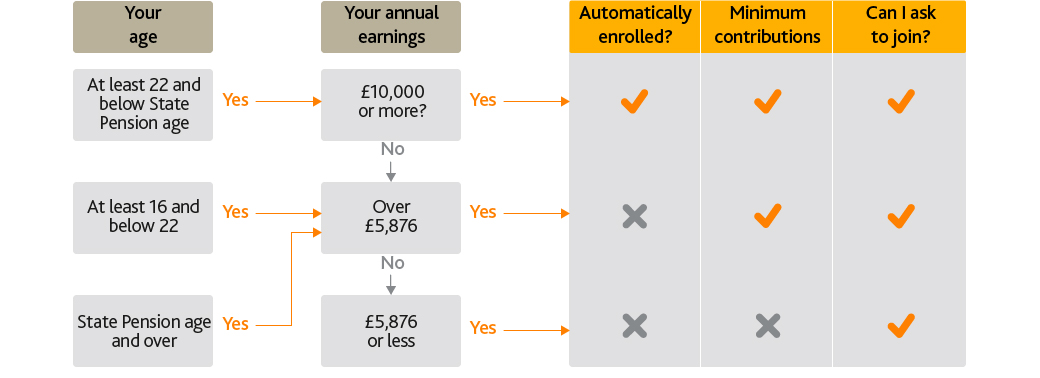 Flowchart showing your rights depending on your age and annual earnings